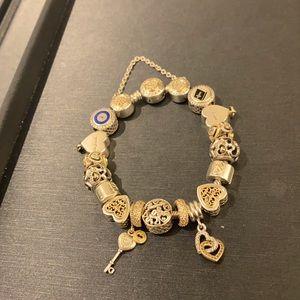 Two tone Pandora bracelet (ss & 14kyg mix)